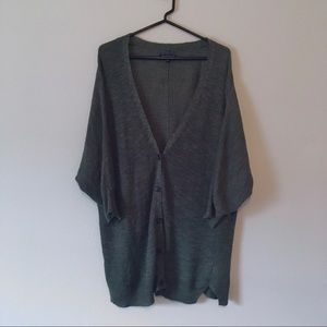 American Eagle Green Grandpa Button Up Cardigan M